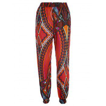 High Waisted Tribal Print Pants with Pockets