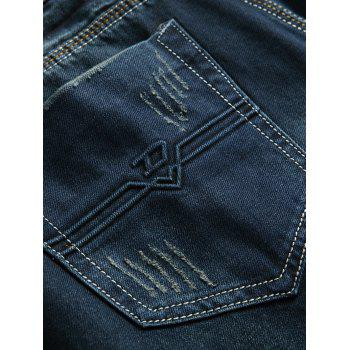 Frayed Ripped Zip Fly Cuffed Jeans - DENIM BLUE 38