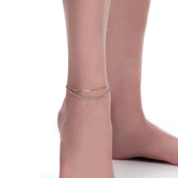 Multilayered Rhinestone Star Chain Anklet - GOLDEN GOLDEN