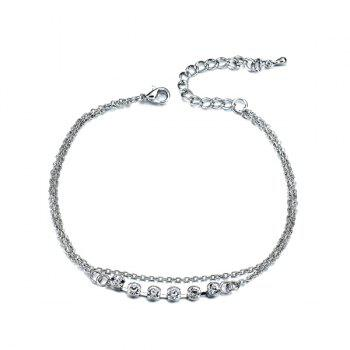 Rhinestone Layered Chain Anklet - SILVER