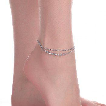 Rhinestone Layered Chain Anklet - SILVER SILVER