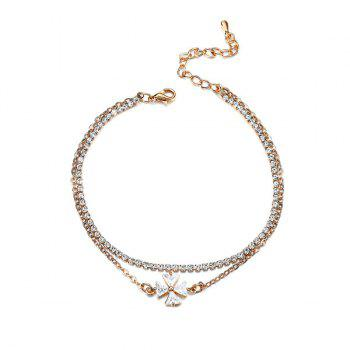 Layered Rhinestone Crucifix Charm Anklet -  GOLDEN