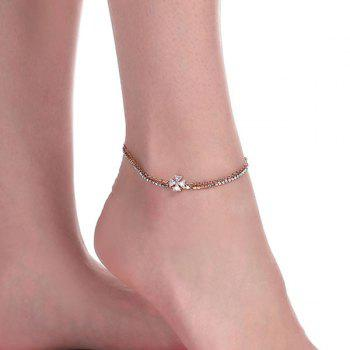 Layered Rhinestone Crucifix Charm Anklet - GOLDEN GOLDEN