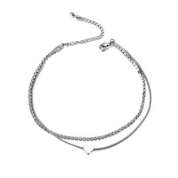 Rhinestone Heart Layered Charm Anklet -  SILVER