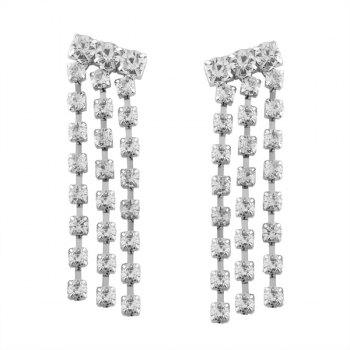 Rhinestone Fringed Dangle Earrings