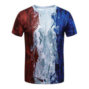 French Flag Painted Short Sleeve T-shirt