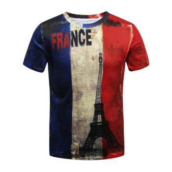 Distressed French Flag Eiffel Tower 3D Print T-Shirt