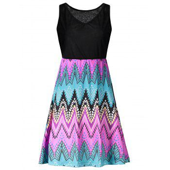 V Neck Print Mini A Line Dress