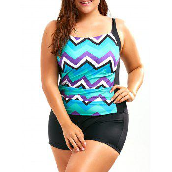 Plus Size Chevron Boyleg Swimwear