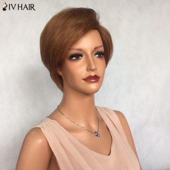 Siv Hair Side Bang Layered Glossy Short Straight Human Hair Wig