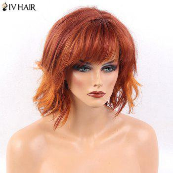 Siv Hair Side Bang Court Perruque Naturelle Straight Layered Hair Humain - RAL Rouge Orange