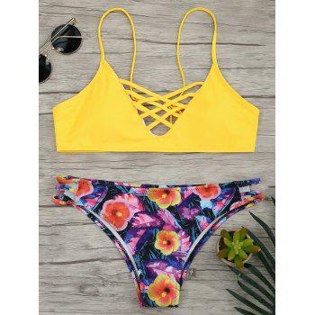 Lace Up Bikini with Floral Pattern