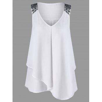 Plus Size Sequined Shoulder Overlap Sleeveless Blouse