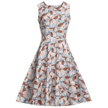 Leaf Print Sleeveless Vintage Dress