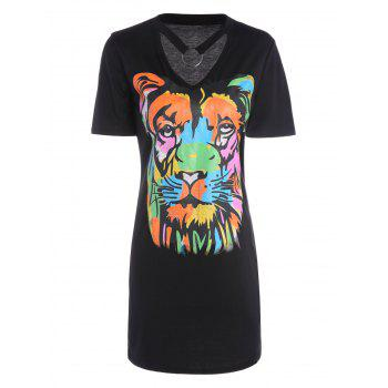 Animal Lion Print Mini T-Shirt Dress