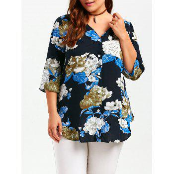 Button Up Flower Print Plus Size Shirt