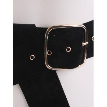 Metallic Rectangle Pin Buckle Velvet Belt - BLACK
