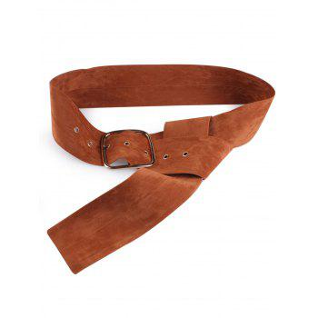 Metallic Rectangle Pin Buckle Velvet Belt - LIGHT BROWN LIGHT BROWN