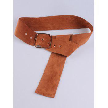Metallic Rectangle Pin Buckle Velvet Belt -  LIGHT BROWN