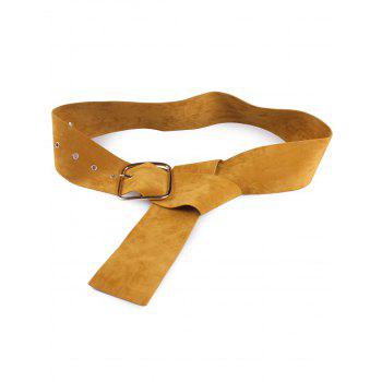 Metallic Rectangle Pin Buckle Velvet Belt