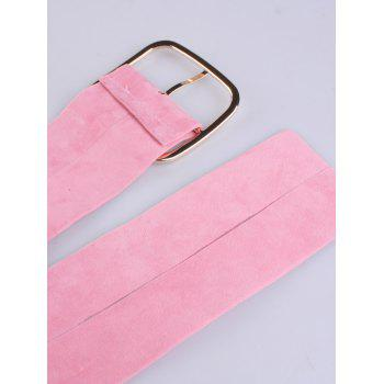 Metallic Rectangle Pin Buckle Velvet Belt -  PINK