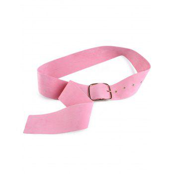 Metallic Rectangle Pin Buckle Velvet Belt - PINK PINK