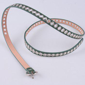 Faux Leather Hollow Out Circle Rings Belt -  GREEN