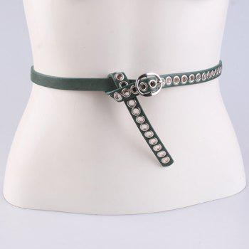 Faux Leather Hollow Out Circle Rings Belt - GREEN GREEN