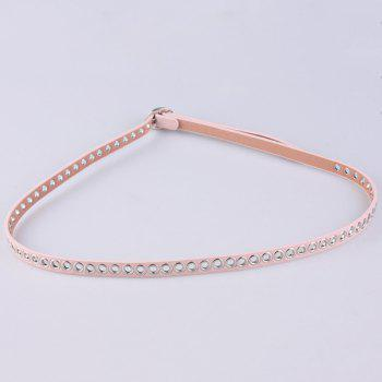Faux Leather Hollow Out Circle Rings Belt -  PINK
