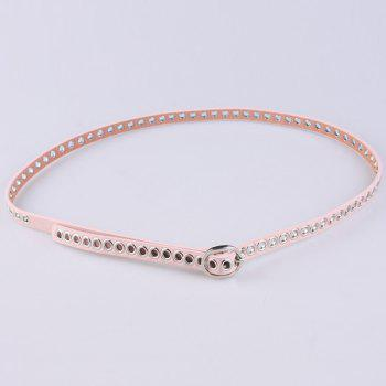 Faux Leather Hollow Out Circle Rings Belt - PINK PINK