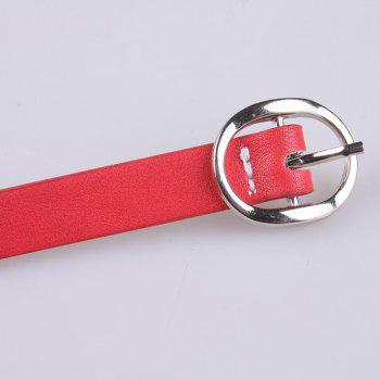Faux Leather Hollow Out Circle Rings Belt -  RED
