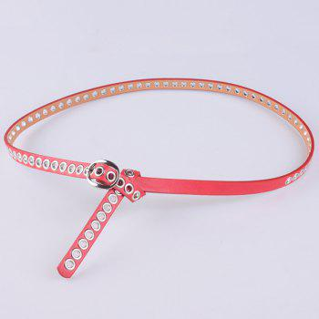 Faux Leather Hollow Out Circle Rings Belt - RED RED