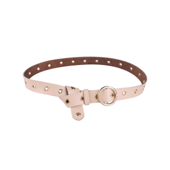 Metal Rings Boucle ronde Faux Leather Belt - Abricot