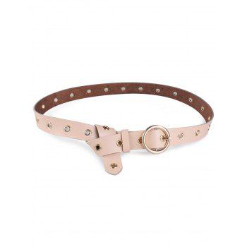 Metal Rings Round Buckle Faux Leather Belt