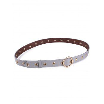 Metal Rings Round Buckle Faux Leather Belt - GRAY GRAY