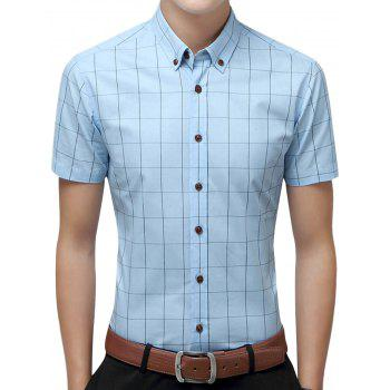 Slim Fit Short Sleeve Checkered Shirt