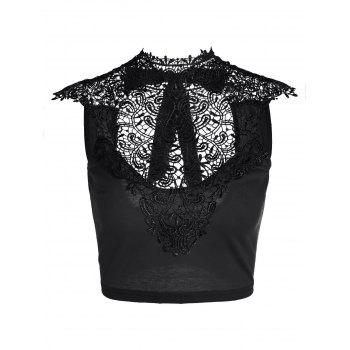 Lace Panel Cut Out Crop Top