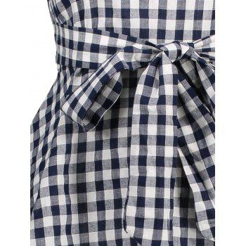 Plaid Drawstring Flare Tank Top - M M