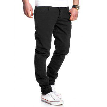 Zipper Fly Straight Leg Basic Pants