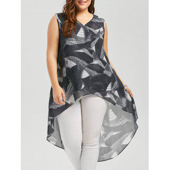 High Low Sleeveless Print Plus Size Top