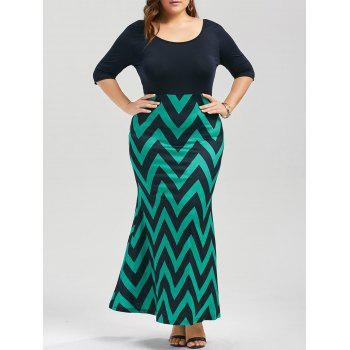 Plus Size Chevron Bowknot Decorated Mermaid Dress