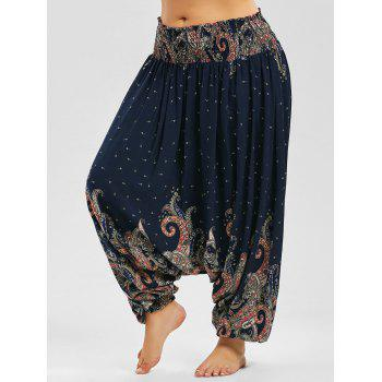 Plus Size Paisley Print Low Crotch Pants