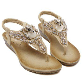 Rhinestones Elastic Band Faux Leather Sandals