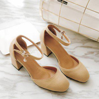Suede Chunky Heel Ankle Strap Pumps