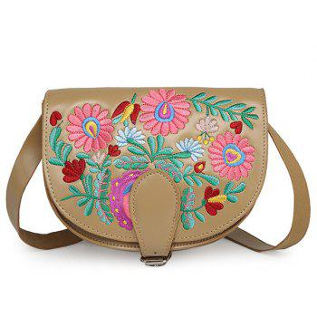 Floral Embroidered Saddle Bag