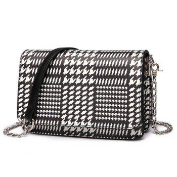 Chain Houndstooth Print Crossbody Bag