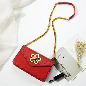 Chain Flower Turnlock Cross Body Bag