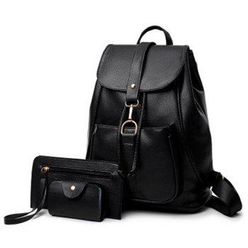 PU Leather 3 Pieces Backpack Set