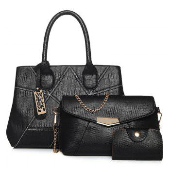 Faux Leather Geometric Pattern Handbag Set