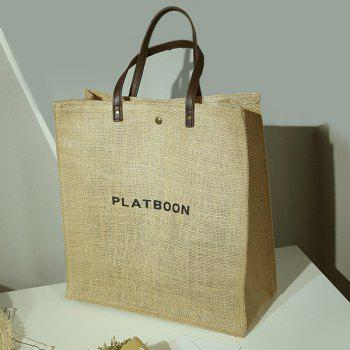 Letter Print Linen Tote Bag -  YELLOW